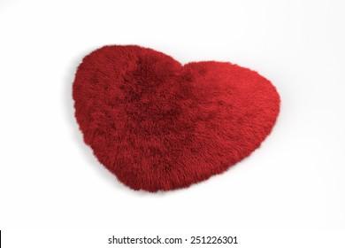 3d fur red heart love symbol