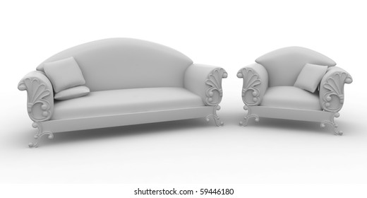 3d furniture design detailed isolated on white