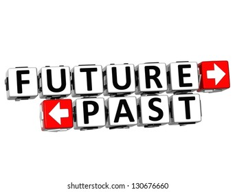 3D Future Past Button Click Here Block Text over white background
