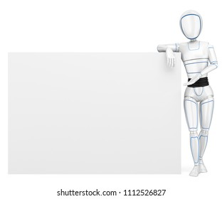 3d futuristic android illustration. Humanoid robot leaning on a blank poster. Isolated white background.