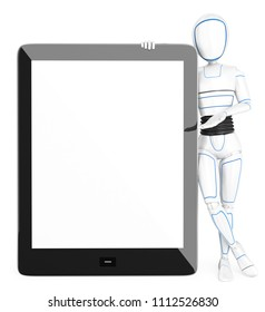 3d futuristic android illustration. Humanoid robot leaning on a huge tablet with blank screen. Isolated white background.
