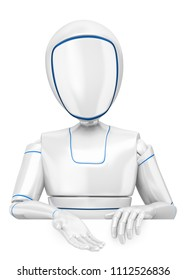 3d futuristic android illustration. Humanoid robot pointing down. Isolated white background.