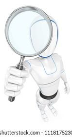 3d futuristic android illustration. Humanoid robot with a magnifying glass. Isolated white background.