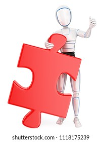 3d futuristic android illustration. Humanoid robot with a huge puzzle piece. Solution. Isolated white background.
