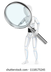 3d futuristic android illustration. Humanoid robot with a huge magnifying glass. Isolated white background.