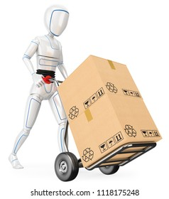3d futuristic android illustration. Humanoid robot pushing a cart with cardboard boxes. Isolated white background.