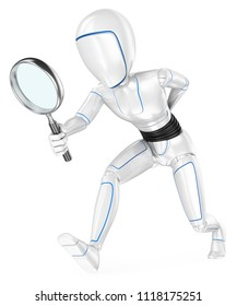 3d futuristic android illustration. Humanoid robot looking for with a magnifying glass. Isolated white background.