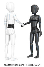 3d futuristic android illustration. Humanoid robot shaking hands with another robot. Isolated white background.