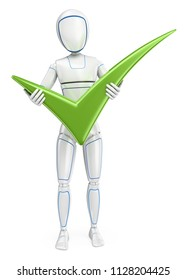 3d futuristic android illustration. Humanoid robot standing with a big green tick. Isolated white background.