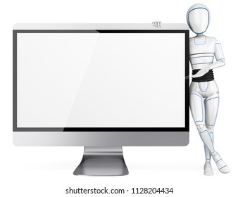 3d futuristic android illustration. Humanoid robot leaning on a big blank screen. Isolated white background.