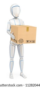 3d futuristic android illustration. Humanoid robot delivering a package. Isolated white background.