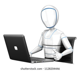 3d futuristic android illustration. Humanoid robot working with a laptop and thumb up. Isolated white background.