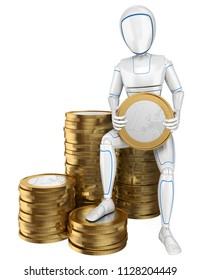 3d futuristic android illustration. Humanoid robot sitting on a pile of euro coins. Isolated white background.