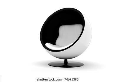 3d Futuristic Arm Chair Onwhite Background