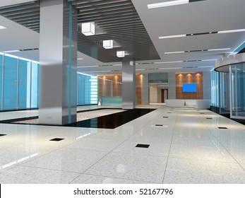 3d futuristic corridor, hall