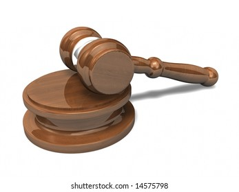 3D Gavel with shadow on white background