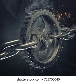 3d gear on the steel chain. High resolution