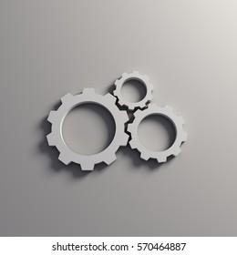 3D Gears Working in Team. Render Illustration