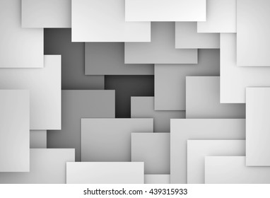3D generated gray tones abstract illustration as background