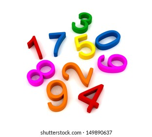 3D generated images of plastic numbers used in education