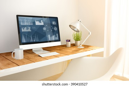 3d generated minimalist workspace with stock on computer screen computer and copyspace. 3d illustration. all screen graphics are made up.