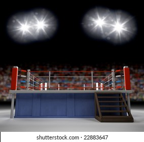 A 3d Generated Professional Boxing Ring Empty Showiing Audence In Back