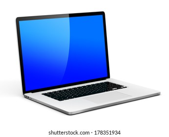 3D Generic Laptop with Blue Screen