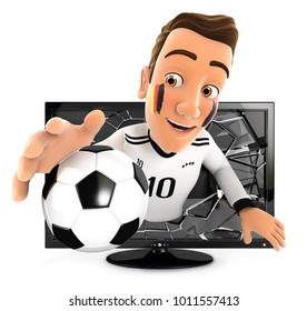 3d german soccer fan coming out of television, illustration with isolated white background
