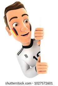 3d german soccer fan peeping over blank wall, illustration with isolated white background
