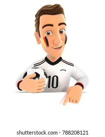 3d german soccer fan pointing to empty wall, illustration with isolated white background