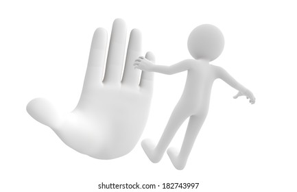3d giant hand represent stop or prohibit