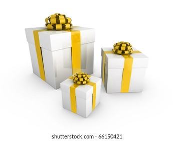 3d gift boxes wrapped with shiny ribbon and bows