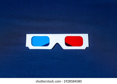 3d glasses isolated on blue, 3d glasses on blue background