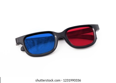 3d glasses isolated on white background, front view.  Cinema glasses frontally. glasses view from above.