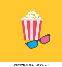 3D glasses and popcorn. Cinema icon in flat dsign style.