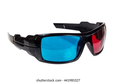 3D Glasses - Red Blue 3D Glasses Isolated on a White Background