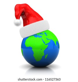 3d global christmas : earth with hat santa claus