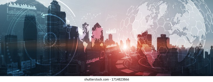 3D Globe City. Visual interface char graphics diagrams infographics business intelligence analytics trading investment concept city view website header background.