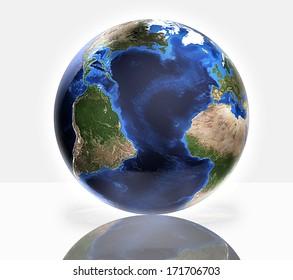 3d globe. Earth Map and Globe shape courtesy of NASA.