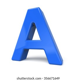 3d glossy blue letter A isolated on white background