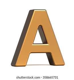 3d glossy gold letter A isolated on white background