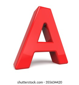3d glossy red letter A isolated on white background