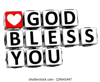 3D God Bless You Button Click Here Block Text over white background