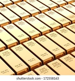 3d gold bars on white background
