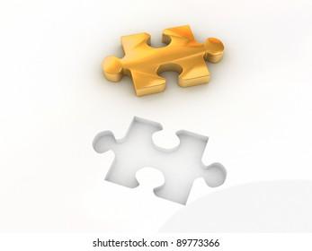 3d gold colored proper puzzle part