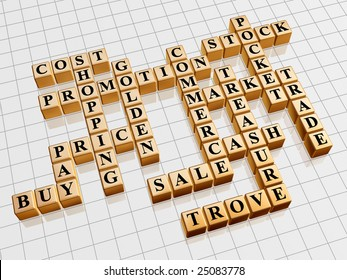 3d gold cubes with text - shopping; promotion; price; sale; market; cost; stock; cash; commerce; trade; buy; pay; pocket; treasure; trove; golden