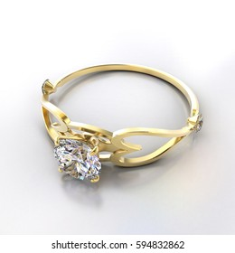 3D Gold diamond Ring placed on white background.