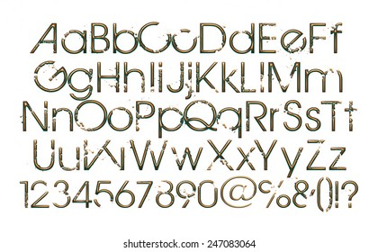 3D Gold font, full alphabet with digit numbers on white background.