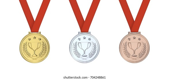 3d Gold medal with laurels , stars and cup. Round blank coin with ornaments. Victory, best product, service or employee, first place concept. Achievement in sports. Isolated on white background.