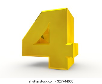 3d Gold number 4 on white background 3d rendering